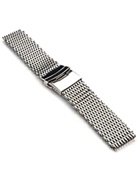 StrapsCo Extra Long Shark Mesh Stainless Steel Watch Band in 20mm