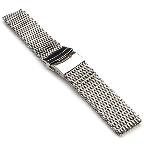 StrapsCo Extra Long Stainless Steel Shark Mesh Milanese Watch Band Strap 18mm 20mm 22mm 24mm