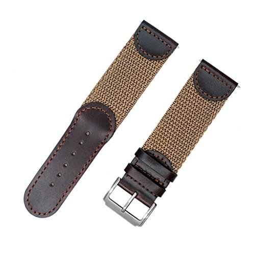 Bulova Brown Strap (YQI Men's Calfskin Leather and Nylon NATO Watch Strap Swiss-Army Style Watch Band (24mm, Brown and Khaki))