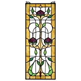 Stained Glass Panel - Ruskin Rose Three Flower Stained Glass Window Hangings - Window Treatments