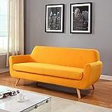 Divano Roma Furniture Mid Century Linen Fabric Sofa, Yellow