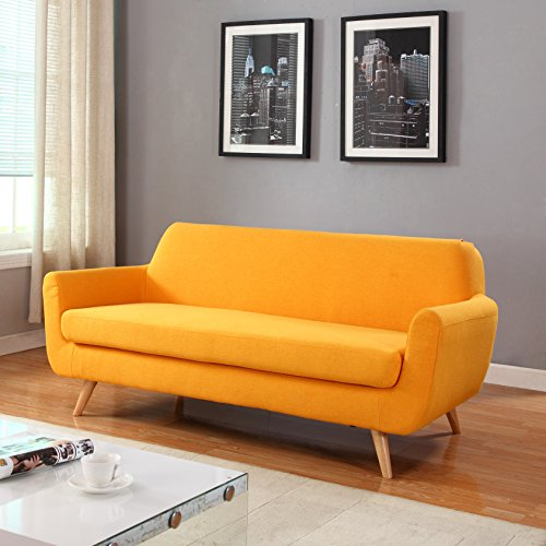 Divano Roma Furniture Mid Century Linen Fabric Sofa, Yellow