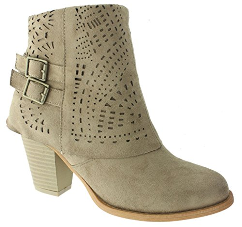 Pierre Dumas Women's Denny-12 Laser Cut Ankle Boot with Stacked Heel Faux Suede