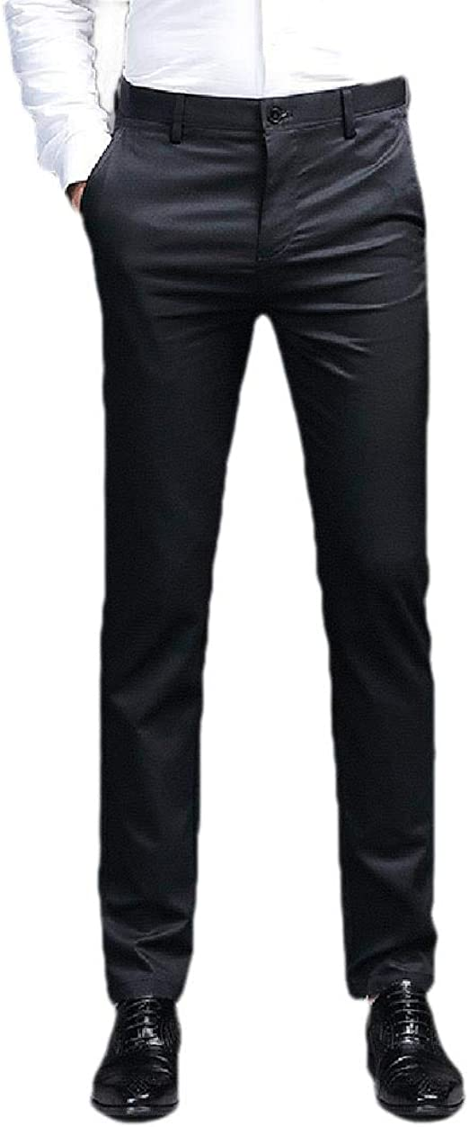 Tootess Mens Relaxed-Fit Slim Fitted Business Straight Leg Non-Iron Dress Pant