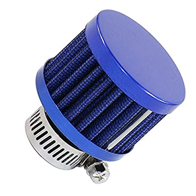 BUSIDN 12mm Mini Blue Motorcycle Cone Air Intake Filter with Hose Clamp