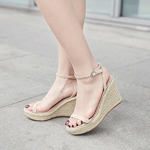 Bottom Sandals Open Dream Thick Vintage Shoes High Beige Wedges toed Black Elegant Heels Summer Women Fn8FYqr