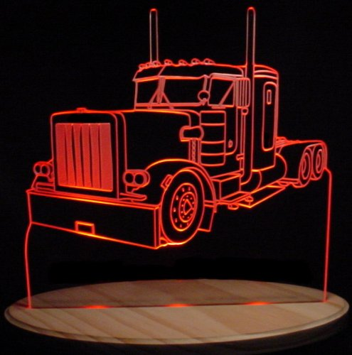 Semi Truck Acrylic Lighted Edge Lit LED Sign / Light Up Plaque VVD15 ()