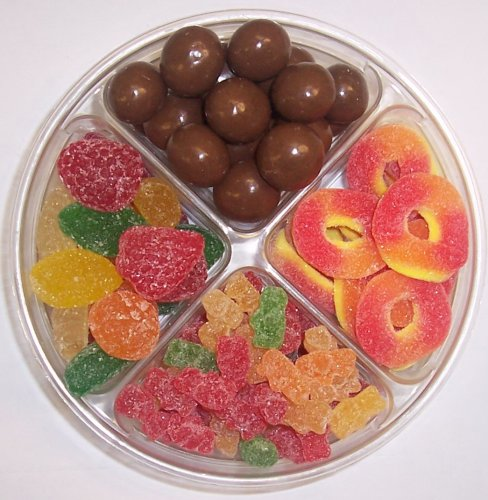 Scott's Cakes 4-Pack Pectin Fruit Gels, Peach Rings, Chocolate Malt Balls, & Sour Gummie Bears by Scott's Cakes