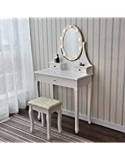 PULUOMIS White Dressing Table with Mirror - 3 Drawer Makeup Desk Set with LED Lights & Padded Stool for Bedroom