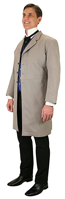Men's Steampunk Clothing, Costumes, Fashion Historical Emporium Mens 100% Brushed Cotton Frock Coat $149.95 AT vintagedancer.com