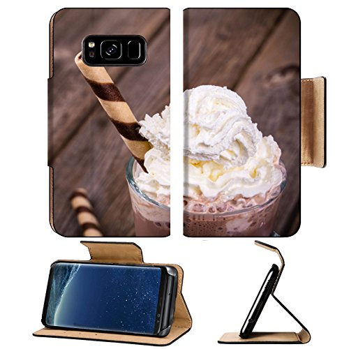 MSD Premium Samsung Galaxy S8 Plus Flip Pu Leather Wallet Case Hot chocolate with whipped cream topping in glass rolled wafer effect processing IMAGE 22928064