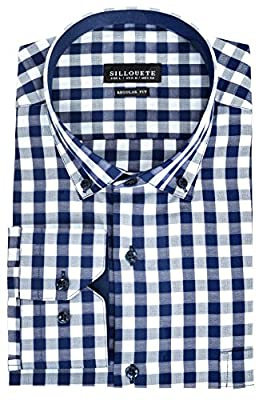 Sillouete Mens Dress Shirts Long Sleeve Classic Regular Fit With Button Down Collar