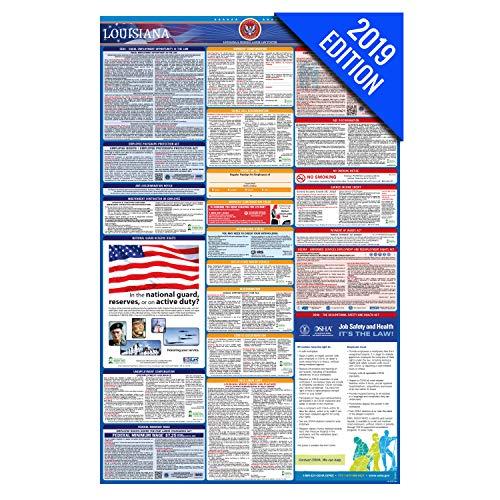 - 2019 Louisiana Labor Law Poster - State, Federal, OSHA Compliant - Single Laminated Poster