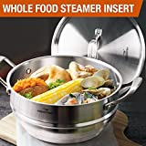 HOMI CHEF 5QT 9.5'' WHOLE FOOD Steamer Insert with Lid (3 Ridges for 8''/ 9''/ 9.5'' Pots, 4.5'' Deep, Nickel Free Stainless Steel) / Universal Steamer Inserts for Pots - Vegetable Steamer Insert for Pot