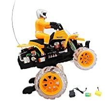 Off Road Rider All Terrain Vehicle RTR RC ATV, Remote Control (RC) Stunt Performing Colorful lights and Music Motorcycle for kids (ORANGE)