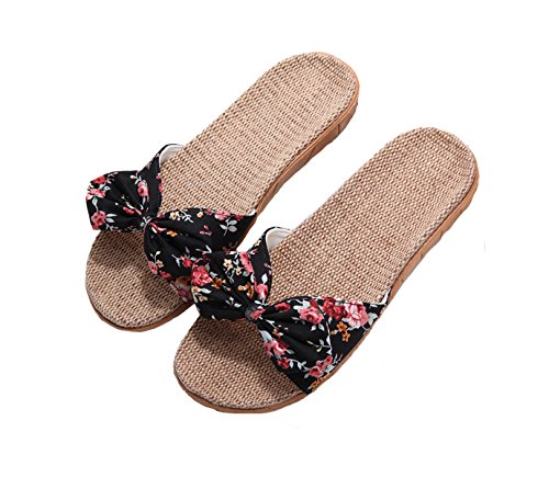 (House Shoes with Arch Support for Women, Flax Indoor Shoes Non-Slip Sandals Sole for Women Girls Ladies Black 39-40)