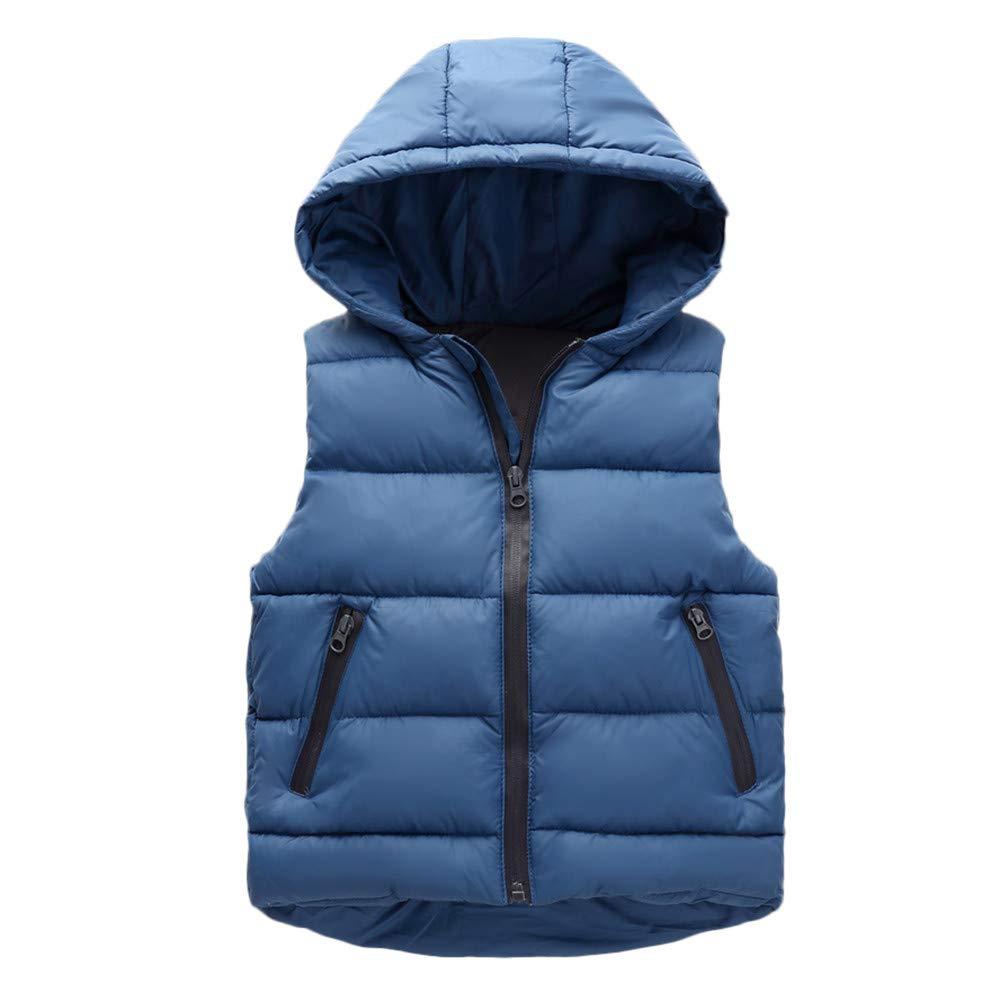 Huhu833 Kinder Daunenweste Mädchen Jungen Baby Winter Warm Sleeveless Mäntel Weste Reißverschluss Dick Hoodie Oberbekleidung