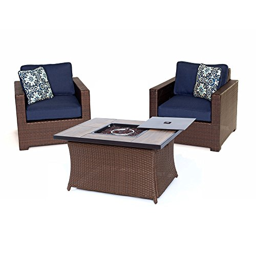 Hanover MET3PCFP-NVY-A Metropolitan 3 Piece Chat Set with LP Gas Fire Pit Table, Navy Blue Outdoor Furniture - Metropolitan Patio Furniture
