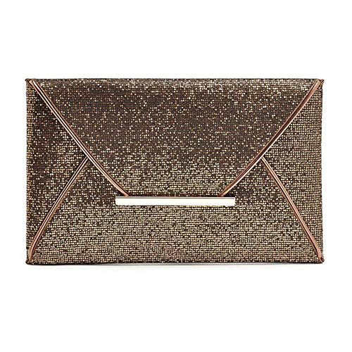 Christine 3 Colors Women Sequin Clutches Handbag, Glitter, Ladies Purse Packet Messenger Bag for Evening Party, Prom, Wedding(Black) Coffee
