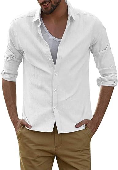 YGbuy-Camisa De Solapa De Manga Larga De Imitación De Color Liso De Los Hombres Delgado y Cómodo Cofre con Hebilla Verano T-Shirt Vestidos Polo Mujer Camisas Hombre Manga Corta Gorra Polo: Amazon.es: