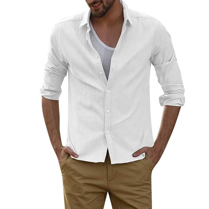 Camisas para Hombres Manga 3/4 Camisas Tops Sin Cuello ...