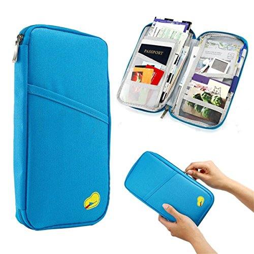 TraderPlus Travel Wallet & Documents Organizer Zipper Case, Family Passports Holder Credit ID Card Cash Purse (SkyBlue)