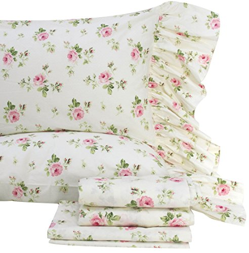 - Queen's House Rose Floral Bed Sheet Set 4-Piece Queen Size-Style I