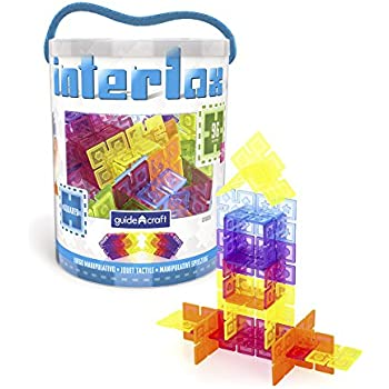 Guidecraft Interlox Squares - 96 Piece Set Interlocking Construction Toy