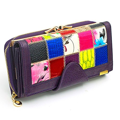 Patchwork Checkbook Wallets Large Capacity Women