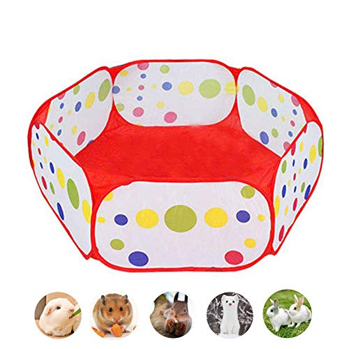 Small Animals Hexagon Foldable Exercise Playpen, Guinea Pigs Portable Easy Storage Wire Yard Fence, Pet Cage Pen Ideal for Hamster, Puppy, Cat, Rabbit, Chinchillas, Hedgehogs, Outdoor/Indoor