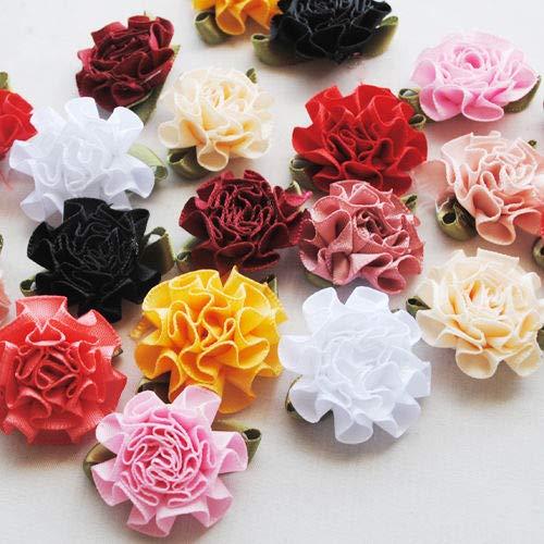 DalaB 30pcs Ribbon Flowers Bows Carnation Appliques Craft Wedding Decor Lots Mix 30MM ()