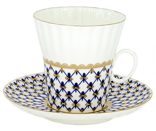 Lomonosov Porcelain Bone China Set Coffee Cup and Saucer Cobalt Net Dandelion Cobalt Net Bone China