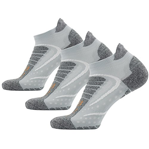Facool Men's Low Cut Running Socks Fashion Coolmax Fabric Athletic Sports Socks for Tennis/Golf/Gym/Exercise Light Grey White,Large,3 Pairs