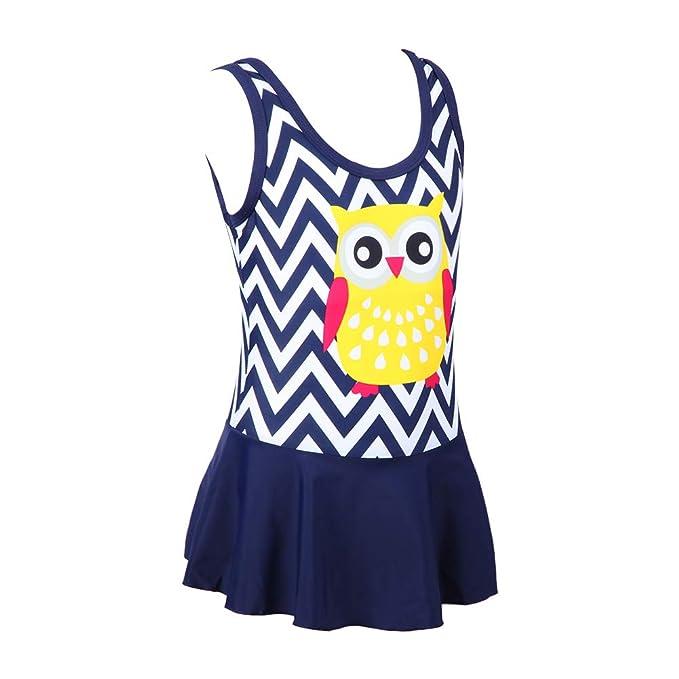 cdec1413f4 Little Girls Cute Owl Pattern Swimsuit One-Piece Suits Children Bathing Suit  (104(