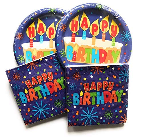 Birthday Paper Plates - Happy Birthday Plates and Napkins Sets - Very Cute Sets of Happy Birthday Theme Paper Plates and Napkins - Multiple Themes Sizes - Great Value