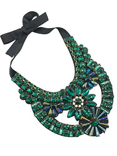 Dorchid Women Carnival Necklace Rhinestone Short Sweater Jewelry Wedding Prom GREEN ()
