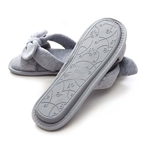 bestfur Womens Thread Cotton Memory Foam Washable Cozy House Slippers Grey IkcqukpXd
