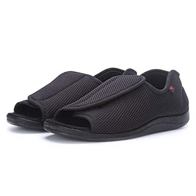 Amazon.com | AOIREMON Men's Diabetic Footwear Open Toe Extra Wide Slippers Adjustable Orthopedic Shoes for Edema Swollen Feet Elderly Men. | Slippers
