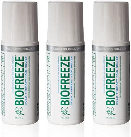 Biofreeze 13871 Biofreeze Pain Relief Gel for Arthritis, 3 oz. Roll-On Cold Topical Analgesic, Colorless Formula (Pack of 3)