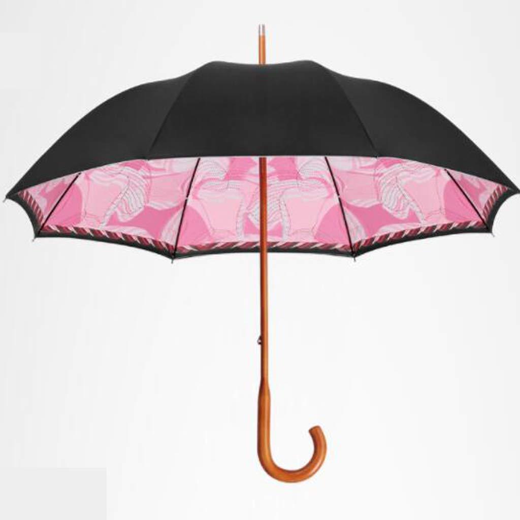 傘 ダブル傘布ロングハンドル傘家庭用傘無垢ハンドル傘大型ダブル傘ピンク HBJP B07SQ54XXB