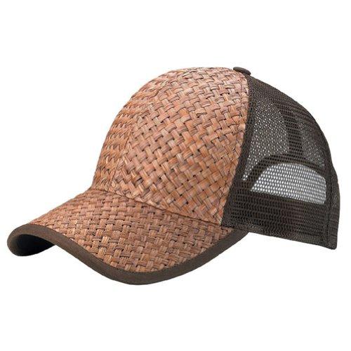 (Low Profile Structured Mesh Straw Trucker Cap)