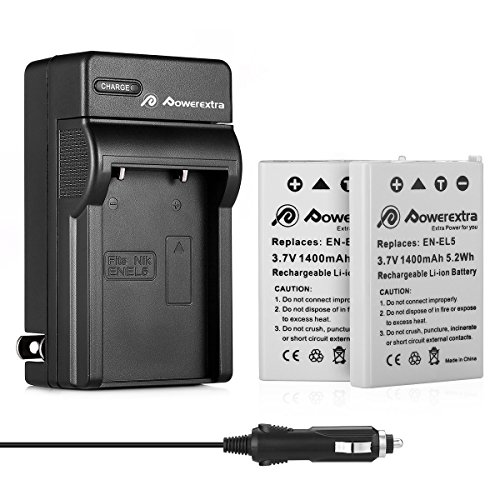 Powerextra 2 Pack Replacement Battery and Charger for Nikon EN-EL5 and Nikon CoolPix P530, P520, P510, P100, P500, P5100, P5000, P6000, P90, P80, 4200, 5900, 7900, P3, P4, S10 Cameras (Car P510)