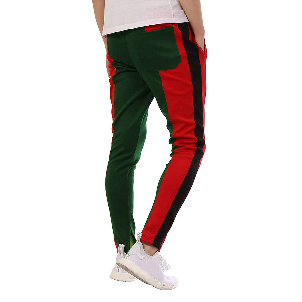 Corriee Mens Fitness Long Pants Slim Fitted Sweatpants Mens Athletic Patchwork Drawstring Trousers