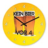 No Beer Before 4 Wooden Wall Clock Silent Non-ticking Wall Clocks Decorative for Living Room Bedrooms Nursery Clock Children Watch