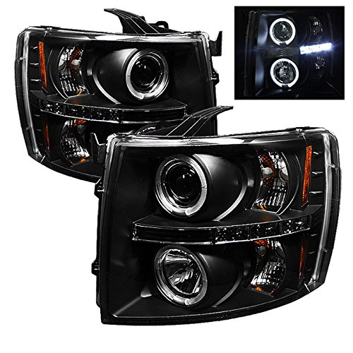 Aftermarket Projector Headlights - Spyder Auto :: PRO-YD-CS07-HL-BK Chevy Silverado 1500/2500/3500 07-13 Projector Headlights - LED Halo - LED ( Replaceable LEDs ) - Black - High H1 (Included) - Low H1 (Included)