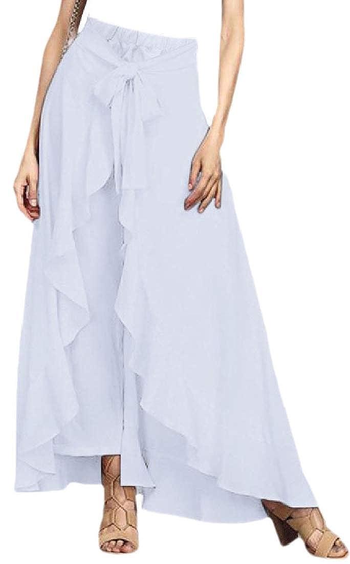 BingSai Falda Larga con Volantes para Mujer Blanco Blanco 40 ...