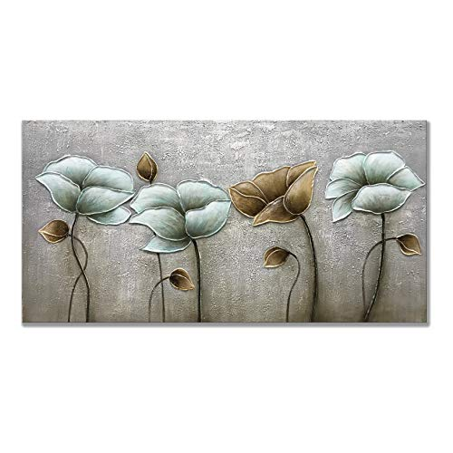 Alenoss Oil Paintings on Canvas Large Wall Art, 24x48inch Hand Painted Abstract Modern Lotus Flowers Colorful Floral 3D Metal Luster Artwork Wall Decor for Home Decorations Ready to Hang