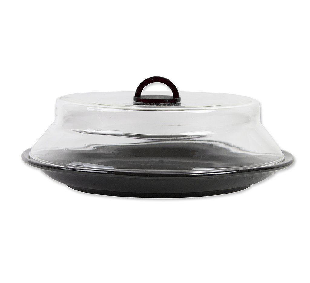 """11"""" Microwaveable Glass Plate Cover with Black Silicone Handle by Catamount Glassware"""