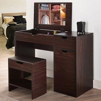 Botero Walnut Finish Multi Storage Vanity Table With Mirror And Stool
