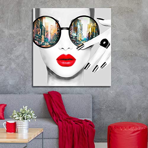 Contemporary Wall Art Modern Fashion Women with Red Lip Canvas Print Stylish Feminine Wall Art Painting Framed Cityscape Piture Ready to Hang for Home Decoration (28x28inch) ()